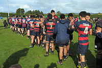 Players shake hands after the 2017 1st XV rugby Top Four boys final between Hastings Boys' High School and Hamilton Boys' High School at Sport and Rugby Institute in Palmerston North, New Zealand on Sunday, 10 September 2017. Photo: Dave Lintott / lintottphoto.co.nz