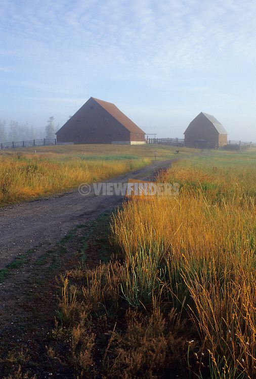 Historic Barns at Harriman State Park in the Fog