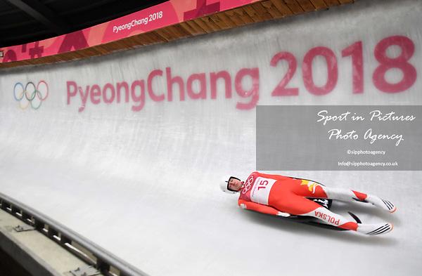 Mateusz Sochowicz (POL). Mens luge. Pyeongchang2018 winter Olympics. Alpensia sliding centre. Alpensia. Gangneung. Republic of Korea. 11/02/2018. ~ MANDATORY CREDIT Garry Bowden/SIPPA - NO UNAUTHORISED USE - +44 7837 394578