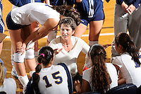 20 November 2008:  FIU Volleyball Head Coach Danijela Tomic attempts to calm her players down in a timeout during the FIU 3-1 victory over South Alabama in the first round of the Sun Belt Conference Championship tournament at FIU Stadium in Miami, Florida.