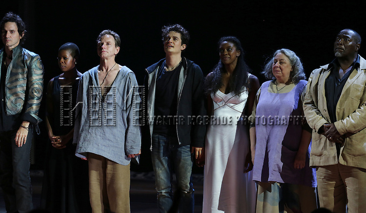 "Christian Carmargo, Roslyn Ruff, Brent Carver, Orlando Bloom, Condola Rashad, Jayne Houdyshell and Chuck Cooper and the ensemble cast during the ""Romeo And Juliet"" On Broadway First Performance Curtain Call at the Richard Rodgers Theatre in New York City on 8/24/2013 during the ""Romeo And Juliet"" On Broadway First Performance Curtain Call at the Richard Rodgers Theatre in New York City on 8/24/2013"