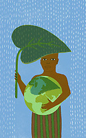 Boy holding globe protecting himself from rain with large leaf ExclusiveImage