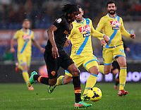 Calcio, semifinale di andata di Coppa Italia: Roma vs Napoli. Roma, stadio Olimpico, 5 febbraio 2014.<br />