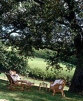 Perfect for evening drinks in the summer, wicker chairs and a sun-lounger are arranged under the branches of an ancient oak tree