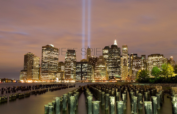 AVAILABLE FROM JEFF AS A FINE ART PRINT.  <br /> <br /> AVAILABLE FROM PLAINPICTURE FOR COMMERCIAL AND EDITORIAL LICENSING.  Please go to www.plainpicture.com and search for image # p5690229.<br /> <br /> Tribute in Light (World Trade Center Memorial Light Installation) over Lower Manhattan Skyline at Dusk, New York City, New York State, USA