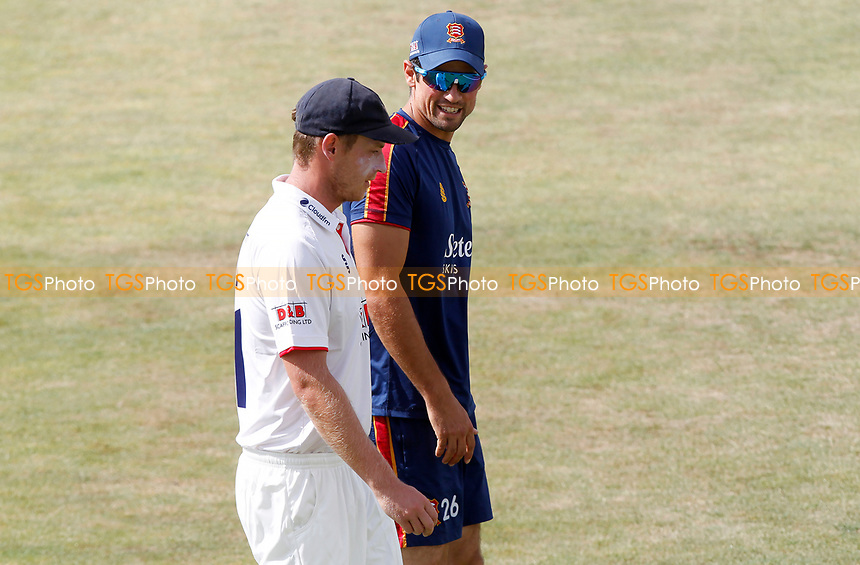 Sir Alastair Cook of Essex (right) talks with captain Tom Westley (left) during Essex CCC vs Kent CCC, Bob Willis Trophy Cricket at The Cloudfm County Ground on 1st August 2020