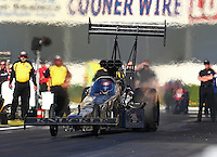 Feb 6, 2015; Pomona, CA, USA; NHRA top fuel driver Shawn Langdon during qualifying for the Winternationals at Auto Club Raceway at Pomona. Mandatory Credit: Mark J. Rebilas-