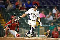 Pitt Panthers center fielder Aaron Schnurbusch (20) at bat in front of catcher Jalen Washington during a game against the Ohio State Buckeyes on February 20, 2016 at Holman Stadium at Historic Dodgertown in Vero Beach, Florida.  Ohio State defeated Pitt 11-8 in thirteen innings.  (Mike Janes/Four Seam Images)