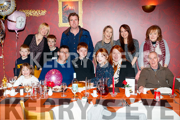 Rebecca Nolan who celebrated her confirmation party with her family at Restaurant Uno on Saturday night, front l-r: Lucy Stack Hugh Nolan, Matthew Nolan, Rebecca Nolan, Anna Nolan and Tom Walsh. Back l-r: Tina Stack Sean Stack, Aidan Stack Dylan Stack, Fiona Walsh, Amanda Walsh and Patricia Walsh. The family originally from Kerry but living in Kildare.