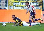 Nederland, Arnhem, 28 april 2013.Eredivisie.Seizoen 2012-2013.Vitesse-Willem II (3-1).Nicky Hofs (r.) van Willem II en Theo Janssen van Vitesse strijden om de bal
