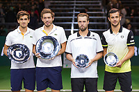 Rotterdam, The Netherlands, 18 Februari, 2018, ABNAMRO World Tennis Tournament, Ahoy, Doubles final,Left  winners  Pierre-Hugues Herbert (FRA) / Nicolas Mahut (FRA) and right runners up Oliver Marach (AUT) / Mate Pavic (CRO)<br />
