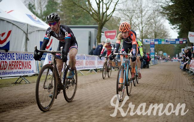 Wout Van Aert (BEL/Vastgoedservice-Golden Palace) wins the sprint for 2nd place ahead of Sven Nys (BEL/Crelan-AAdrinks), Lars Van der Haar (NLD/Giant-Shimano) &amp; Kevin Pauwels (BEL/Sunweb-Napoleon Games)<br /> <br /> Krawatencross <br /> bpost bank trofee 2015  <br /> elite men's race<br /> Krawatencross <br /> bpost bank trofee 2015