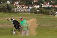 Tiernan McLarnon from Ireland plays out of a bunker on the 17th during Round 2 Singles of the Men's Home Internationals 2018 at Conwy Golf Club, Conwy, Wales on Thursday 13th September 2018.<br /> Picture: Thos Caffrey / Golffile<br /> <br /> All photo usage must carry mandatory copyright credit (&copy; Golffile | Thos Caffrey)