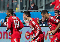 30 March 2013:Toronto FC midfielder Jonathan Osorio #21 celebrates his goal during an MLS game between the LA Galaxy and Toronto FC at BMO Field in Toronto, Ontario Canada..The game ended in a 2-2 draw..