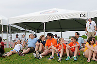 Fans watch the game from the Sky Blue cabana. FC Gold Pride defeated Sky Blue FC 1-0 during a Women's Professional Soccer (WPS) match at Yurcak Field in Piscataway, NJ, on May 1, 2010.