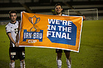 Home players Stephen Mallan (left) and John Sutton display a flag at the Paisley2021 Stadium after Scottish Championship side St Mirren played Welsh champions The New Saints in the semi-final of the Scottish Challenge Cup for the right to meet Dundee United in the final. The competition was expanded for the 2016-17 season to include four clubs from Wales and Northern Ireland as well as Scottish Premier under-20 teams. Despite trailing at half-time, St Mirren won the match 4-1 watched by a crowd of 2044, including 75 away fans.