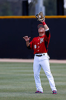 Chester Pak #8 of the Cal State Northridge Matadors catches a fly ball during a game against the UC Santa Barbara Gauchos at Matador Field on May 12, 2013 in Northridge, California. Cal State Northridge defeated UC Santa Barbara 7-1. (Larry Goren/Four Seam Images)