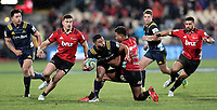Seta Tamanivalu tackles Limo Sopoaga during the Super Rugby match between the Crusaders and Highlanders at Wyatt Crockett Stadium in Christchurch, New Zealand on Friday, 06 July 2018. Photo: Martin Hunter / lintottphoto.co.nz