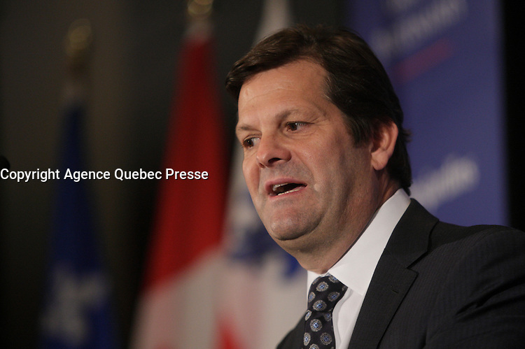 April 9, 2013 File photo - Pierre Beaudoin<br /> President and Chief Executive Officer, Bombardier Inc. speak at the CORIM podium