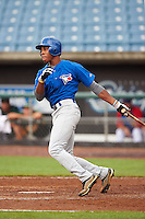 Cory Thompson #3 of Mauldin High School in Mauldin, South Carolina playing for the Toronto Blue Jays scout team during the East Coast Pro Showcase at Alliance Bank Stadium on August 1, 2012 in Syracuse, New York.  (Mike Janes/Four Seam Images)