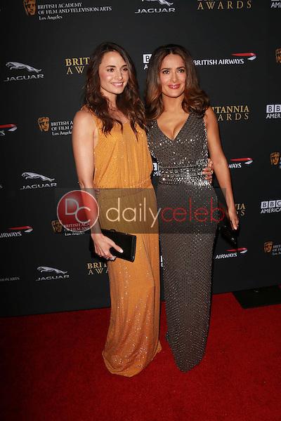 Mia Maestro, Salma Hayek<br /> at the 2013 BAFTA LA Jaguar Britannia Awards, Beverly Hilton Hotel, Beverly Hills, CA 11-09-13<br /> Dave Edwards/DailyCeleb.com 818-249-4998