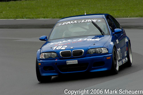 The Fall-Line Motorsports BMW M3 driven by RJ Valentine and Kevin Buckler at the Emco Gears Classic at Mid-Ohio, 2006<br />