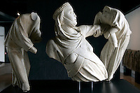 Gruppo scultoreo di Giovanni Pisano, raffigurante la Regina Margherita di Brabante sollevata da due angeli, nel Museo di Sant'Agostino a Genova.<br /> Sculptural group by Giovanni Pisano, representing Queen Margherita di Brabante lifted by two angels, in Genoa's Museum of St. Agostino.<br /> UPDATE IMAGES PRESS/Riccardo De Luca