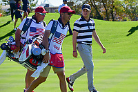 Justin Thomas (USA) makes his way down 7 during round 1 foursomes of the 2017 President's Cup, Liberty National Golf Club, Jersey City, New Jersey, USA. 9/28/2017.<br /> Picture: Golffile | Ken Murray<br /> ll photo usage must carry mandatory copyright credit (&copy; Golffile | Ken Murray)