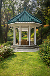 A small gazebo in the lower garden area.