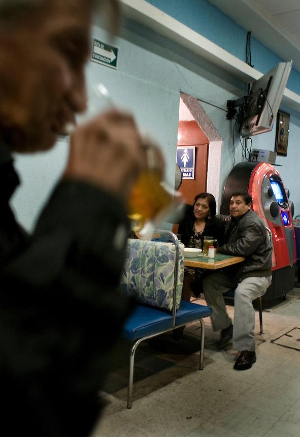 Joel a colorful character dances and chats at Los Cristales bar Av. Tlalpan, Mexico DF.