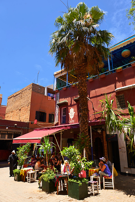 People sitting on the terrace of a cafe in Marrakech, Morocco
