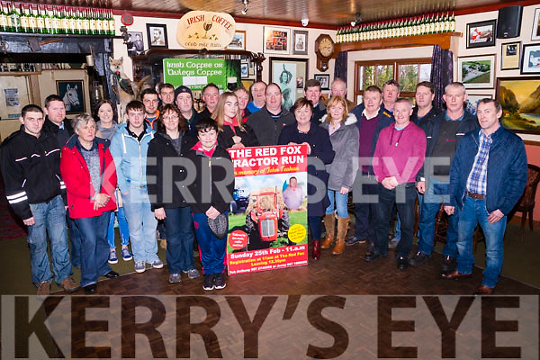 Members of the Red Fox Tractor Run Committee & participants in the upcoming event pictured at The Red Fox Inn  Ballintleave, Glenbeigh on Saturday for the official launch of the 2018 run to be held on Sunday 25th February at 11 am, in memory of John Teahan, raising funds for St. Mary of the Angels & Irish Cancer Society. A great day of Fun, Music Entertainment and, of course Tractors, is promised for all.