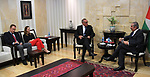 Palestinian Prime Minister Mohammad Ishtayeh meets with Kauko Aaltomaa, Head of the European Police Mission in Palestine, in the West Bank city of Ramallah, June 18, 2019. . Photo by Prime Minister Office