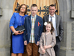 Craig Englishby who was confirmed at the Church of Mary Immaculate Collon pictured with parents Barry and Dara and sister Amy. Photo:Colin Bell/pressphotos.ie