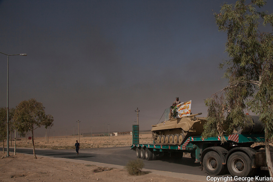 Regular troop and artillery movement is seen on the roads to Mosul, in preparation of the Mosul Offensive.