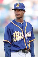 Montgomery Biscuits Tim Beckham #22 lines up for the team introductions before a game against  the Tennessee Smokies at Smokies Park in Kodak,  Tennessee;  April 13, 2011.  Tennessee defeated Montgomery 12-2.  Photo By Tony Farlow/Four Seam Images