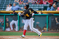 Jose Miguel Fernandez (9) of the Salt Lake Bees bats against the Sacramento River Cats at Smith's Ballpark on May 17, 2018 in Salt Lake City, Utah. Salt Lake defeated Sacramento 12-11. (Stephen Smith/Four Seam Images)