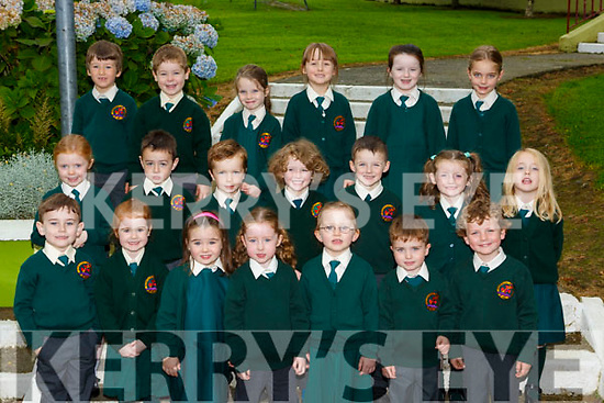 Scartaglen Junior infants at school on Monday front row l-r: Thomas Enright, Ava Casey, Alisha O'connell,Ellie O'Connell, Orlagh Tangney, Jamie Teahan, Tadhg O'Connor. Middle row: Saoirse Lyons, Diarmuid O'riordan, Moss Hughes, Zak Buckley, Jamie Hewitt, orla Flynn, Amber Brosnan. Back row: Neilus O'Mahony, Eoin Reidy, Katie Reidy, Emma Reidy, Karla Brosnan, Ellie Doyle