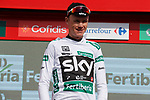 Christopher Froome (GBR) Team Sky retains the Combined Jersey on the podium at the end of Stage 15 of the 2017 La Vuelta, running 129.4km from Alcal&aacute; la Real to Sierra Nevada. Alto Hoya de la Mora. Monachil, Spain. 3rd September 2017.<br /> Picture: Unipublic/&copy;photogomezsport | Cyclefile<br /> <br /> <br /> All photos usage must carry mandatory copyright credit (&copy; Cyclefile | Unipublic/&copy;photogomezsport)