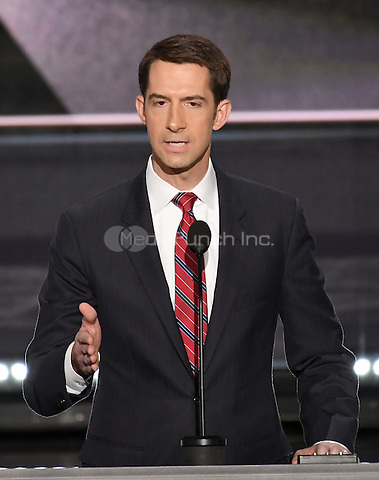 United States Senator Tom Cotton (Republican of Arkansas) makes remarks at the 2016 Republican National Convention held at the Quicken Loans Arena in Cleveland, Ohio on Monday, July 18, 2016.<br /> Credit: Ron Sachs / CNP/MediaPunch<br /> (RESTRICTION: NO New York or New Jersey Newspapers or newspapers within a 75 mile radius of New York City)