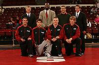 26 February 2006: Stanford's Kevin Klemm, Kerry McCoy, John Clark, Matt Gentry, Scott Loescher, Tanner Gardner, Ray Blake and Luke Feist after the Pac-10 Wrestling Championships at Maples Pavilion in Stanford, CA.