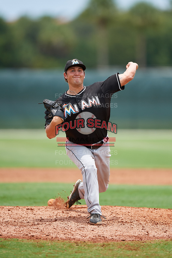 GCL Marlins relief pitcher Karl Craigie (31) delivers a pitch during the second game of a doubleheader against the GCL Nationals on July 23, 2017 at Roger Dean Stadium Complex in Jupiter, Florida.  GCL Nationals defeated the GCL Marlins 1-0.  (Mike Janes/Four Seam Images)