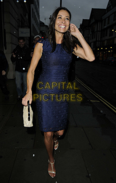 Melanie Sykes.The ITV Summer Party, Aqua bar & restaurant, Argyll St., London, England..July 12th, 2012.full length blue sleeveless dress lace white cream clutch bag hand arm smiling .CAP/CAN.©Can Nguyen/Capital Pictures.