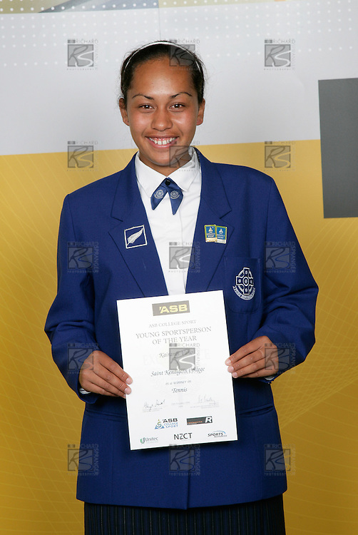 Tennis Girls Winner - Kairangi Vano. ASB College Sport Young Sportsperson of the Year Awards 2006, held at Eden Park on Thursday 16th of November 2006.<br />