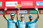 Astana Pro Team lead the team classification at the end of Stage 5 of the La Vuelta 2018, running 188.7km from Granada to Roquetas del Mar, Andalucia, Spain. 29th August 2018.<br /> Picture: Unipublic/Photogomezsport | Cyclefile<br /> <br /> <br /> All photos usage must carry mandatory copyright credit (&copy; Cyclefile | Unipublic/Photogomezsport)
