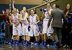 SIOUX FALLS MARCH 23:  The Lubbock Christian bench cheers on their teammates after a made basket against Bentley University in their 2016 NCAA Women's DII Elite 8 Basketball Championship semifinal Wednesday night at the Sanford Pentagon in Sioux Falls, S.D. (Photo by Dick Carlson/Inertia)