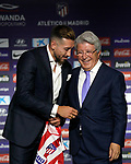 Atletico de Madrid's new player Hector Herrera (l) with the President Enrique Cerezo during his official presentation. July 4, 2019. (ALTERPHOTOS/Acero)