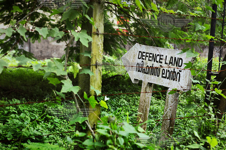 A sign warning that the land belongs to the armed forces.