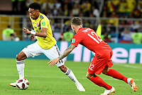 MOSCU - RUSIA, 03-07-2018: Johan MOJICA (Izq) jugador de Colombia disputa el balón con Kieran TRIPPIER (Der) jugador de Inglaterra durante partido de octavos de final por la Copa Mundial de la FIFA Rusia 2018 jugado en el estadio del Spartak en Moscú, Rusia. / Johan MOJICA (L) player of Colombia fights the ball with ¨Jack BUTLAND (R) player of England during match of the round of 16 for the FIFA World Cup Russia 2018 played at Spartak stadium in Moscow, Russia. Photo: VizzorImage / Julian Medina / Cont