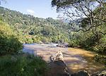 River flowing over Little Rawana or Ravana Falls waterfall, Ella, Badulla District, Uva Province, Sri Lanka, Asia